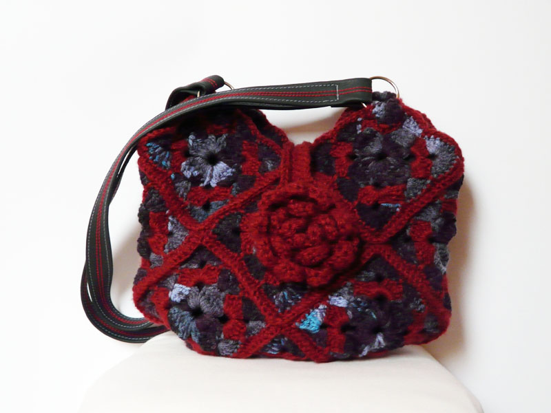 Crochet Bag Strap : Crochet Bag Shoulderbag Purse Claret Blue Leather Strap on Luulla